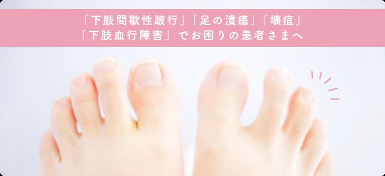 「下肢間歇性跛行」「足の潰瘍」「壊疽」「下肢血行障害」でお困りの患者さまへ